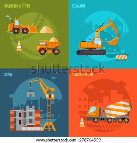 Construction machines design concept set with bulldozer tipper excavator and concrete mixer flat icons isolated vector illustration - stock vector