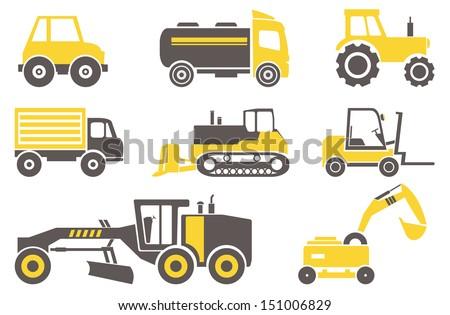 Construction machines. Set for you design  - stock vector