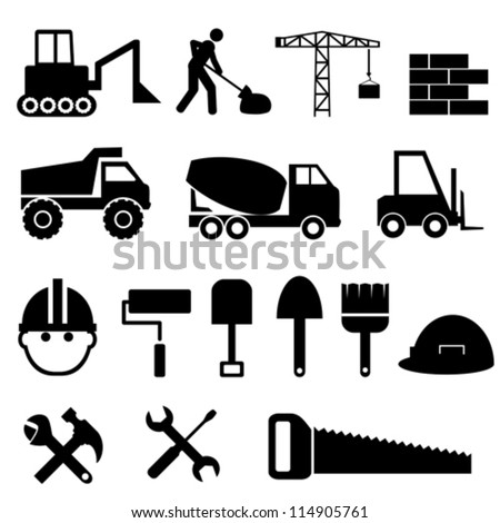 Construction materials and tools icon set