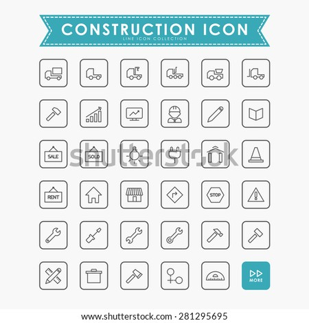construction minimal line icons - stock vector