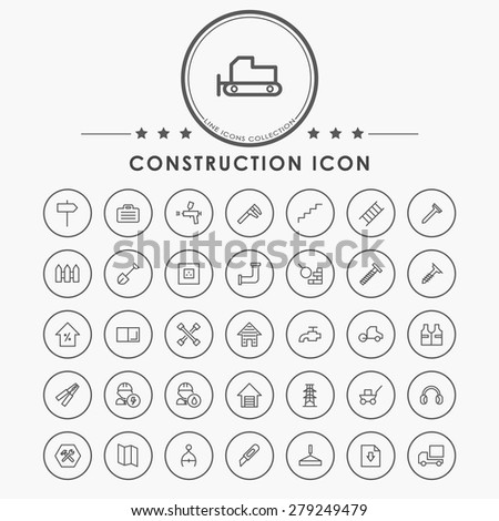 construction minimal outline icons with circle button - stock vector