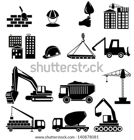 construction objects vector (crane - worker - building) - stock vector