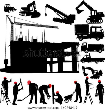 construction objects vector (crane - worker - building - skimmer) - stock vector