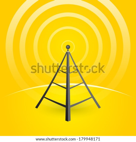 construction of a transmitter on a yellow background with waves - stock vector
