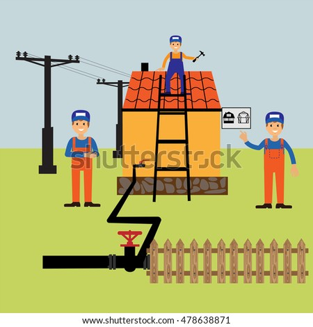 Construction Houses Electricity Connection Waterpeople Work Stock ...