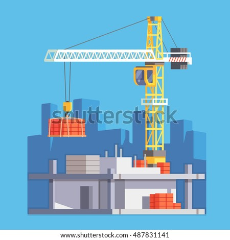 Construction of multistory building house or a skyscraper with tower crane lifting concrete slab and  materials. Modern flat style vector illustration.