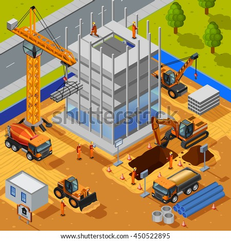 Construction of multistory building isometric design concept with crane bulldozer workers pipes concrete slabs flat vector illustration    - stock vector