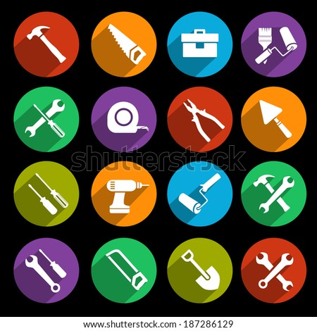 Construction or house renovation working tools icons set of wrench hammer screwdriver and saw isolated vector illustration - stock vector