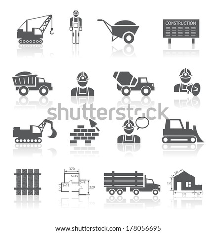 Construction pictograms collection of worker industrial vehicles and blueprint isolated vector illustration - stock vector