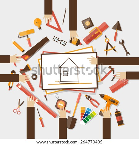 Construction planning process flat illustration. Architecture planning on paper with hands top view. Architectural project, architectural plan, technical project. Engineering for building houses. - stock vector