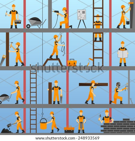 Construction process background with builders repairmen and maintenance workers vector illustration - stock vector