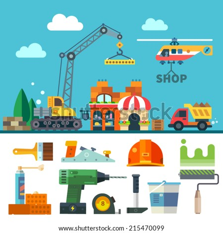 Construction. Process, tools, and materials. Vector flat icon set and illustration: building a house, crane, truck, helicopter, bricks, stone, sand, paint, brush, roller, drill, helmet, hammer, plane - stock vector