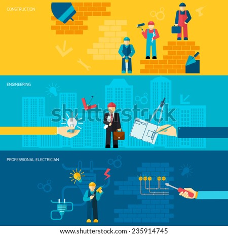Construction professions banners flat set with engineering and professional electrician isolated vector illustration - stock vector
