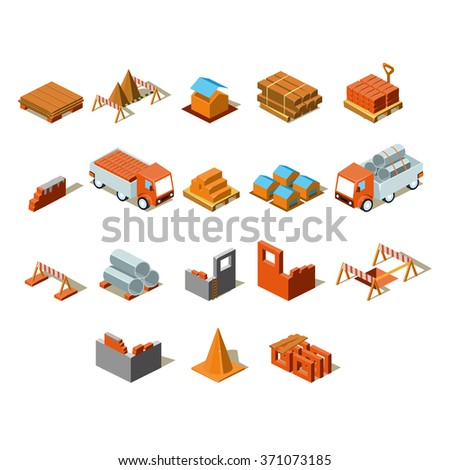 Construction project info graphic,detailed isometric vector illustration set - stock vector