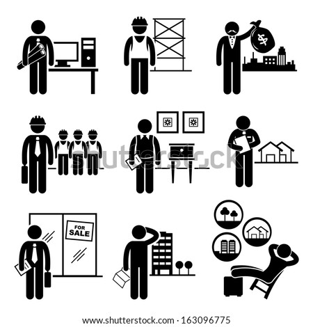 Construction Real Estates Jobs Occupations Careers - Architect, Contractor, Investor, Manager, Interior Designer, Property Valuer, Salesman, Buyer, Investor - Stick Figure Pictogram - stock vector