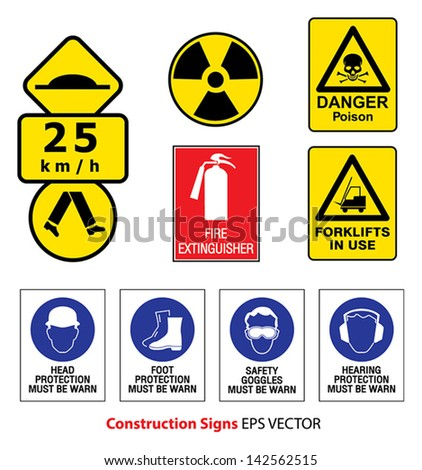 Construction related mandatory and hazards icons and signs - stock vector