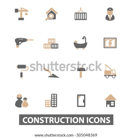 construction, repair flat icons, signs, illustration concept, vector - stock vector