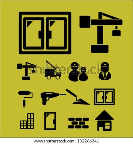 construction & repair icons set, vector - stock vector