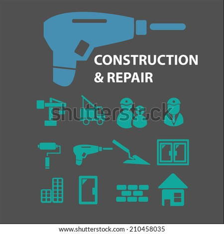 construction, repair icons, signs, symbols, objects, illustrations set. vector - stock vector