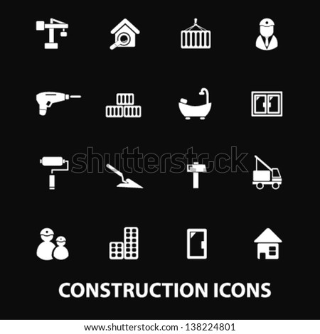 construction, repair services: doors,windows, tools, builder, constructor, crane white isolated icons, signs on black background for design template, vector set - stock vector