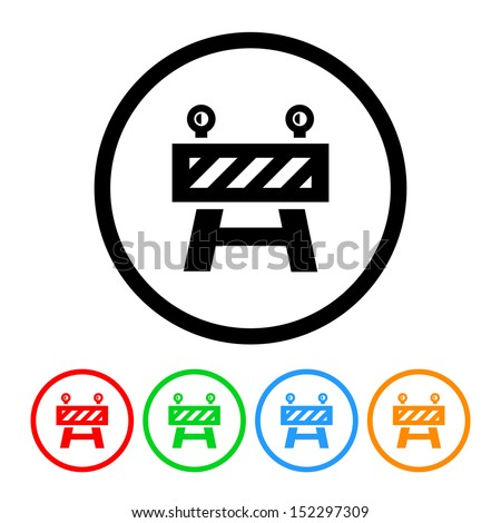 Construction Roadblock Icon with Color Variations - stock vector