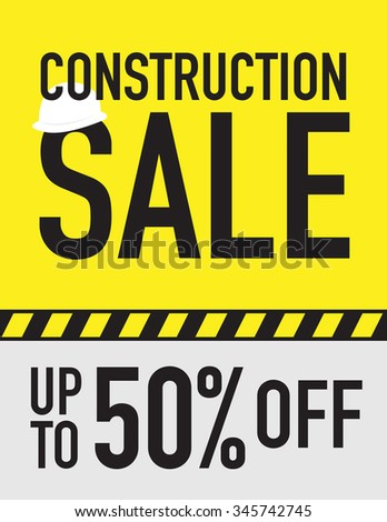 Construction sale sign - save up to 50% off - stock vector