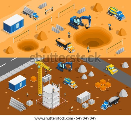 Construction set of two horizontal banners with isometric images of building yard constructional materials and machinery vector illustration
