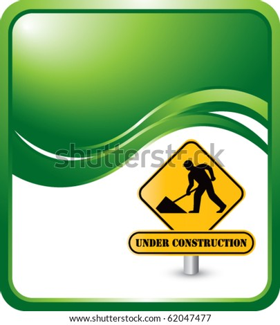 construction sign green wave background