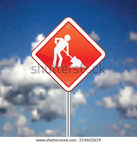 Construction sign with sky in the background vector illustration. - stock vector