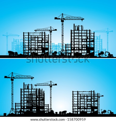Construction site. A silhouette on a blue background. Vector illustration.  - stock vector