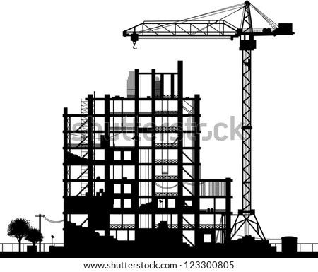 Construction site. A silhouette on a white background. Vector illustration. - stock vector