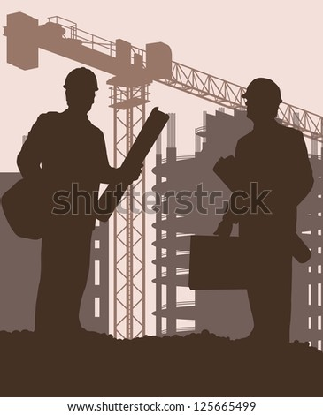 Construction site and engineer vector background - stock vector