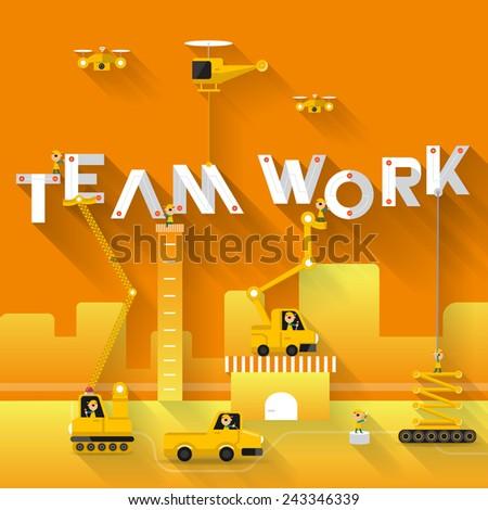 Construction site crane building Teamwork text, Vector illustration template design - stock vector