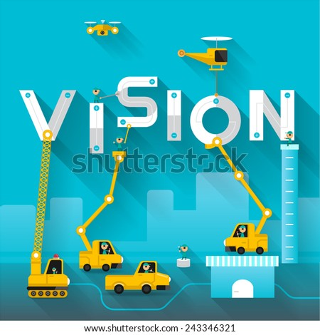 Construction site crane building Vision text, Vector illustration template design - stock vector