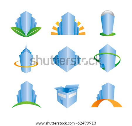 Construction site home serious professional business building logo and icons set company corporation perfect entrepreneur businessman real estate brand foundation - stock vector