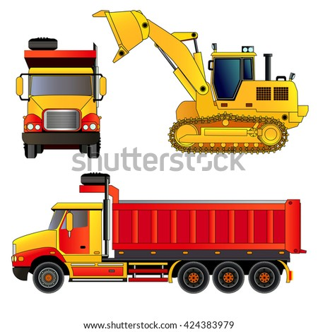 Construction site vehicles. Front wheel loader and dump truck. Vector illustration. Icon. Flat style. Isolated on white