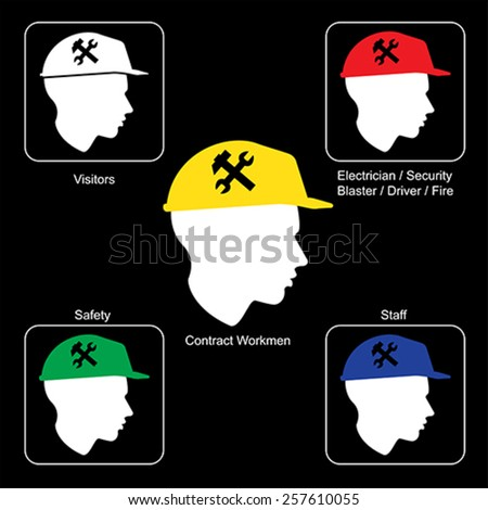 Construction Site warning - Safety Helmet Colors, vector - stock vector