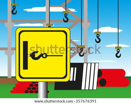 Construction site with a warning sign. Vector illustration. Towing cargo. - stock vector