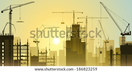 Construction Site with Tower Cranes and Sunset, Sunrise. - Vector EPS 10