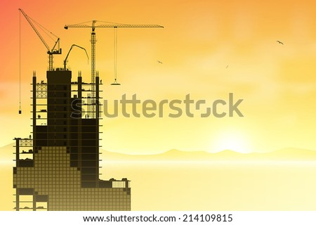 Construction Site with Tower Cranes and Sunset, Sunrise. - Vector EPS 10.