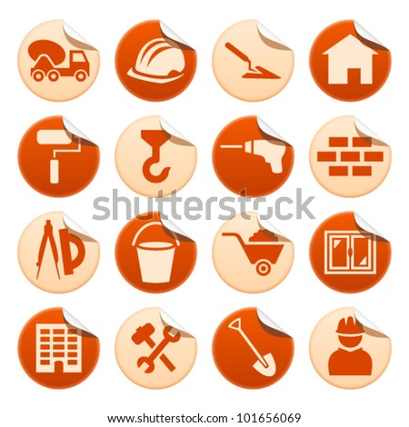 Construction stickers - stock vector