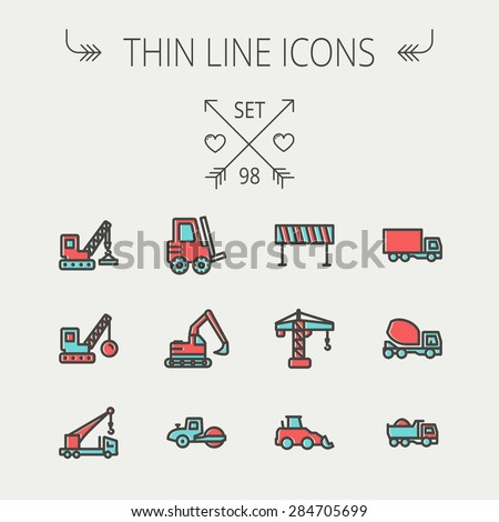 Construction thin line icon set for web and mobile. Set includes - forklift, road roller, cranes, dump truck, road barrier, delivery truck, mixer. Modern minimalistic flat design. Vector icon with - stock vector