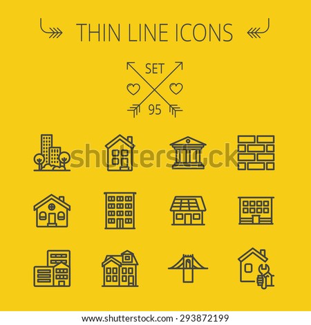 Construction thin line icon set for web and mobile. Set includes - museum, house with solar panel, bridge, building, bricks, hotel. Modern minimalistic flat design. Vector dark grey icon on yellow - stock vector