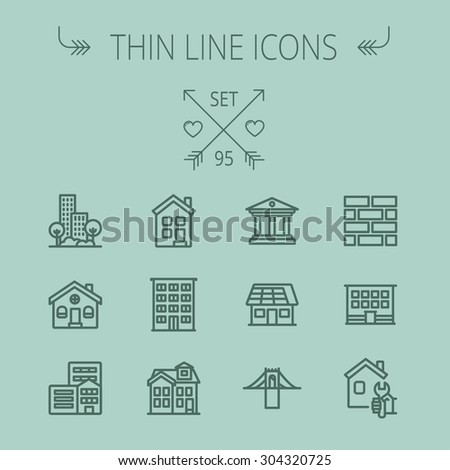 Construction thin line icon set for web and mobile. Set includes - museum, house with solar panel, bridge, building, bricks, hotel. Modern minimalistic flat design. Vector dark grey icon on grey - stock vector