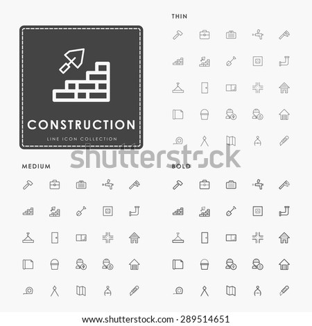 construction thin, medium and bold minimal outline icons - stock vector