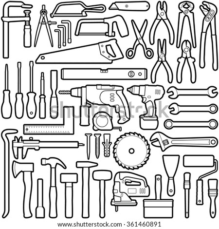 Construction tool collection - vector line illustration