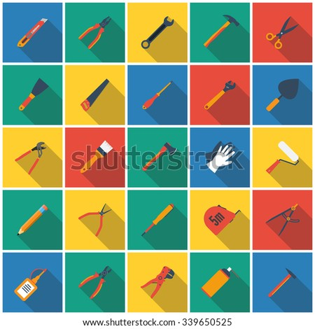 construction tool icon. Set icons hand tools flat style with long shadow. vector illustration. for web and mobile applications - stock vector