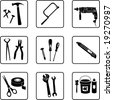 construction tools black and white silhouettes  (also available in raster format) - stock photo