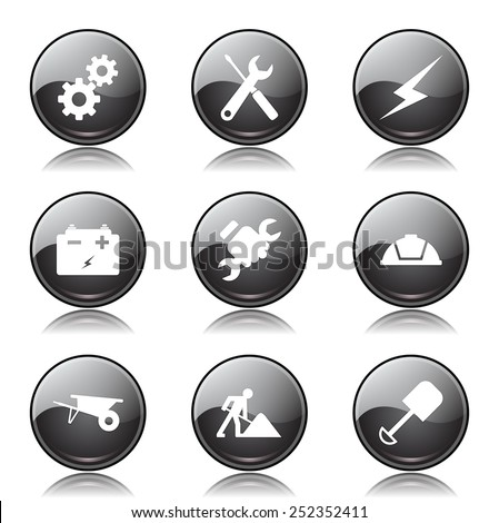 Construction Tools Black Vector Button Icon Design Set
