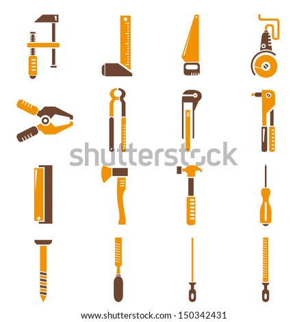 construction tools icons - stock vector